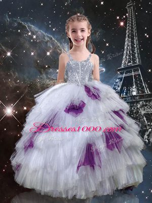 Beauteous White Little Girl Pageant Gowns Quinceanera and Wedding Party with Beading and Ruffled Layers Straps Sleeveless Lace Up