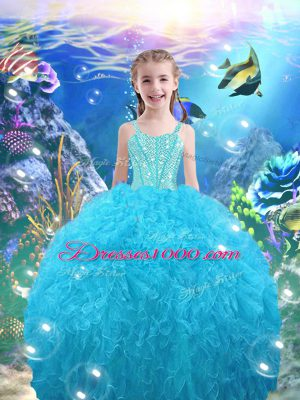 Beading and Ruffles Kids Formal Wear Aqua Blue Lace Up Sleeveless Floor Length