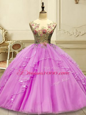 Custom Design Lilac Sleeveless Appliques Floor Length Ball Gown Prom Dress