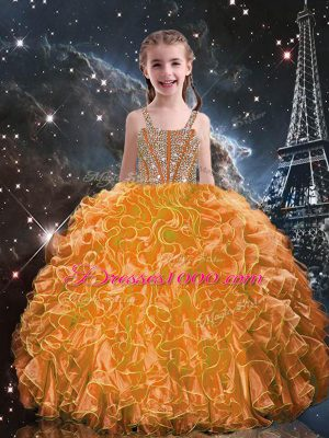 Floor Length Lace Up Pageant Gowns For Girls Orange Red for Quinceanera and Wedding Party with Beading and Ruffles