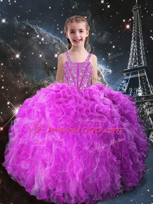 Fuchsia Sleeveless Floor Length Beading and Ruffles Lace Up Child Pageant Dress