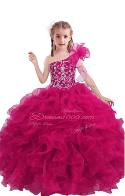 Fuchsia Ball Gowns One Shoulder Sleeveless Organza Floor Length Lace Up Beading and Ruffles Little Girls Pageant Gowns