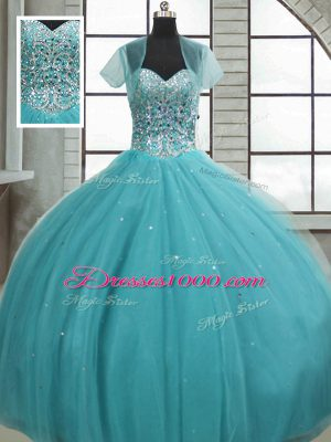 Inexpensive Aqua Blue Ball Gowns Tulle Sweetheart Sleeveless Beading and Sequins Floor Length Lace Up Sweet 16 Quinceanera Dress