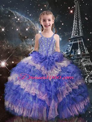 Lilac Girls Pageant Dresses Quinceanera and Wedding Party with Beading and Ruffled Layers Straps Sleeveless Lace Up