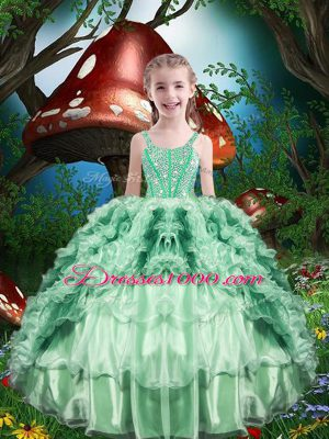 Ball Gowns Little Girl Pageant Dress Apple Green Straps Organza Sleeveless Floor Length Lace Up