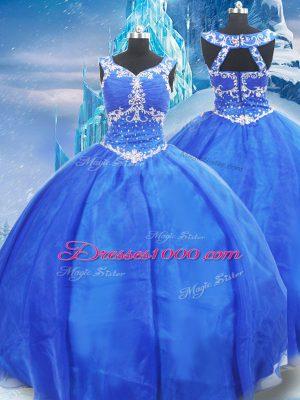 Blue Zipper V-neck Beading 15th Birthday Dress Organza Sleeveless