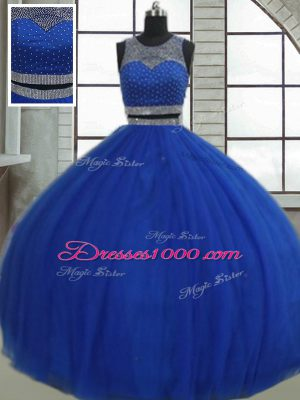 Sleeveless Floor Length Beading and Sequins Clasp Handle Quinceanera Gown with Royal Blue