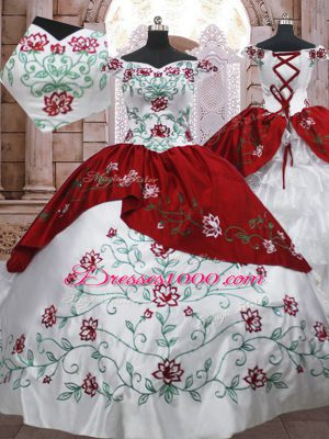 Beautiful Off The Shoulder Sleeveless Taffeta 15 Quinceanera Dress Embroidery and Ruffled Layers Lace Up