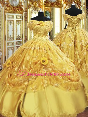 Strapless Sleeveless Lace Up 15 Quinceanera Dress Gold Tulle
