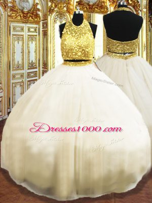 Sleeveless Floor Length Beading Zipper Quinceanera Dresses with Champagne