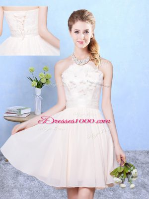 Baby Pink Sleeveless Lace Knee Length Quinceanera Court Dresses