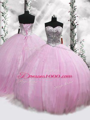 Dazzling Lilac Sweetheart Neckline Beading Sweet 16 Dresses Sleeveless Lace Up