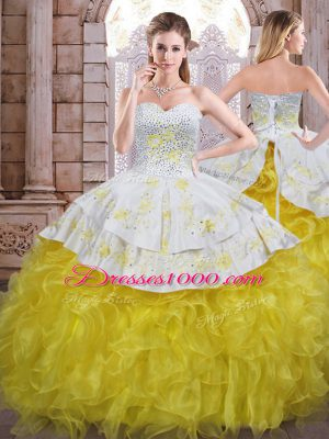 Sleeveless Organza Floor Length Lace Up Sweet 16 Dresses in Yellow And White with Beading and Appliques and Ruffles