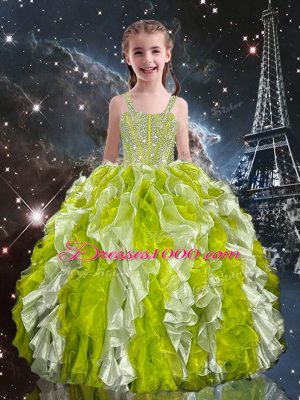 Admirable Olive Green Sleeveless Organza Lace Up Girls Pageant Dresses for Quinceanera and Wedding Party