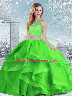 Extravagant Organza Clasp Handle Quinceanera Gowns Sleeveless Floor Length Beading and Ruffles