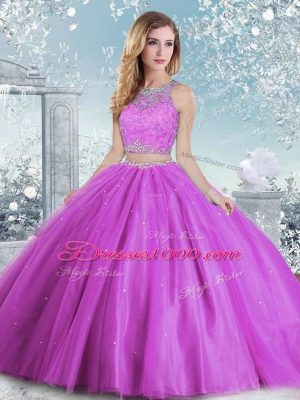 Custom Design Lilac Clasp Handle Scoop Beading and Sequins Quinceanera Dresses Tulle Sleeveless
