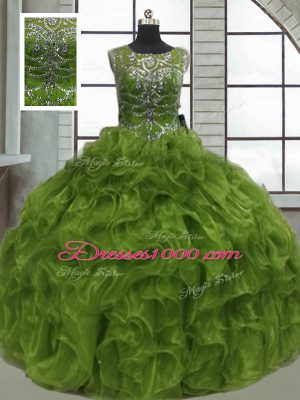 Olive Green Organza Lace Up 15 Quinceanera Dress Sleeveless Floor Length Beading and Ruffles