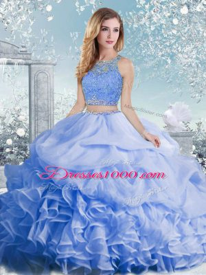 Ball Gowns Sweet 16 Dress Baby Blue Scoop Organza Sleeveless Floor Length Clasp Handle