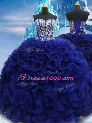 Royal Blue Sweetheart Lace Up Beading Quince Ball Gowns Sleeveless