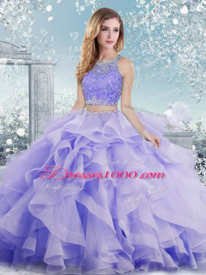 New Style Organza Scoop Sleeveless Clasp Handle Beading and Ruffles Sweet 16 Quinceanera Dress in Lavender