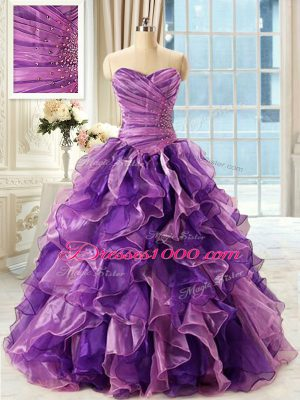 Sleeveless Floor Length Beading and Ruffles Lace Up Ball Gown Prom Dress with Eggplant Purple