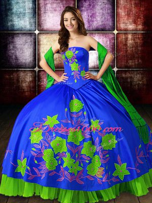 Sweet Multi-color Ball Gowns Strapless Sleeveless Satin Floor Length Lace Up Embroidery Quince Ball Gowns