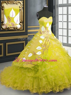 Fitting Organza Sleeveless Sweet 16 Dresses Brush Train and Embroidery and Ruffles