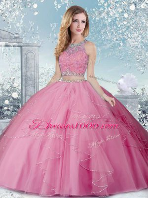 Artistic Sleeveless Floor Length Beading Clasp Handle Quinceanera Gown with Rose Pink