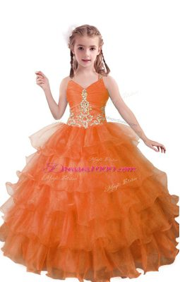 Latest Beading and Ruffled Layers Kids Pageant Dress Orange Red Zipper Sleeveless Floor Length