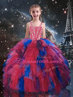 Customized Floor Length Coral Red Kids Formal Wear Tulle Sleeveless Beading and Ruffles