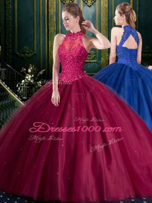 Fabulous Sleeveless Tulle Floor Length Lace Up Sweet 16 Dresses in Burgundy with Appliques