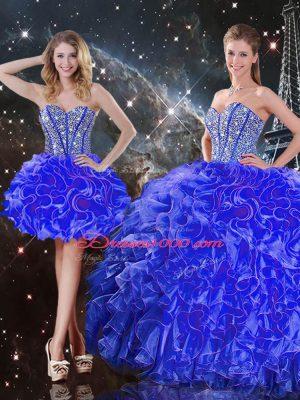 Blue Lace Up Vestidos de Quinceanera Beading and Ruffles Sleeveless Floor Length
