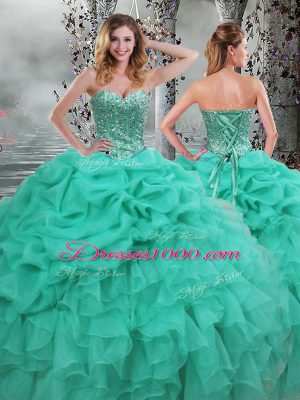 Glittering Sweetheart Sleeveless Lace Up Sweet 16 Dresses Turquoise Organza
