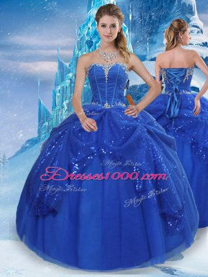 Cheap Royal Blue Ball Gowns Tulle Sweetheart Sleeveless Beading and Pick Ups Floor Length Lace Up Quinceanera Dress