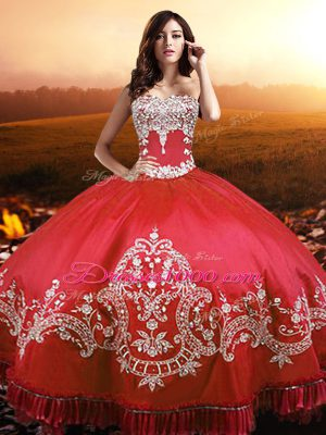 Sumptuous Coral Red Taffeta Lace Up Strapless Sleeveless Floor Length Sweet 16 Dresses Beading and Appliques and Embroidery