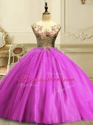 Scoop Sleeveless Quinceanera Gowns Floor Length Appliques and Sequins Fuchsia Tulle