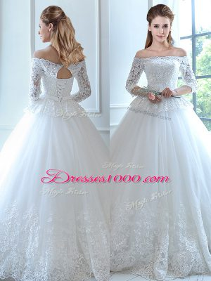Suitable White Ball Gowns Off The Shoulder Sleeveless Tulle Floor Length Lace Up Lace and Appliques Wedding Gown