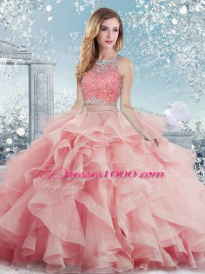 Satin Sleeveless Floor Length Quinceanera Dresses and Beading and Ruffles