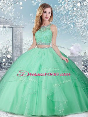 Sleeveless Floor Length Beading Clasp Handle 15 Quinceanera Dress with Apple Green