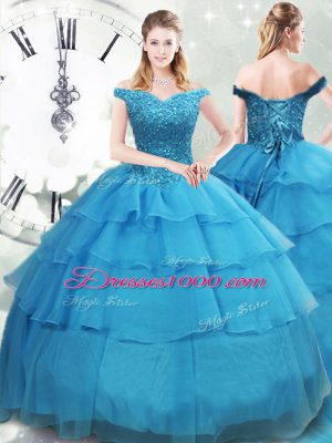 Baby Blue Organza Lace Up Off The Shoulder Sleeveless Sweet 16 Dresses Brush Train Beading and Ruffled Layers