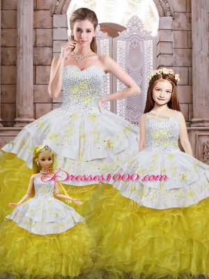 Yellow And White Sleeveless Floor Length Beading and Appliques and Ruffles Lace Up Ball Gown Prom Dress