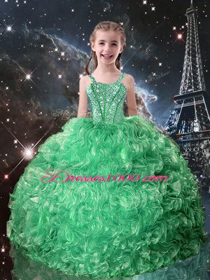 Discount Sleeveless Beading and Ruffles Lace Up Little Girls Pageant Dress Wholesale