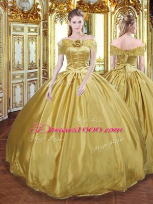 Custom Designed Gold Ball Gowns Off The Shoulder Sleeveless Tulle Floor Length Lace Up Beading and Appliques and Hand Made Flower Sweet 16 Dress