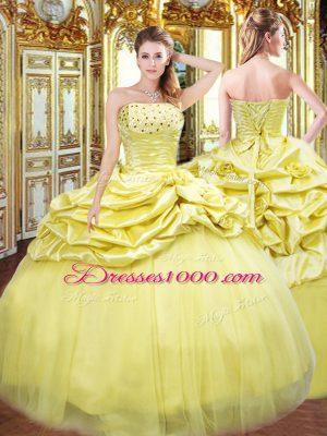 Exquisite Strapless Sleeveless Quinceanera Dresses Floor Length Beading and Pick Ups Gold Taffeta