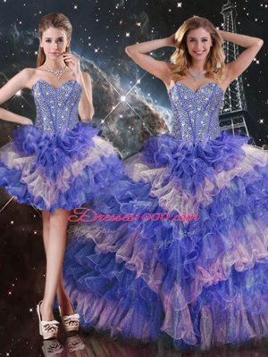 Sweetheart Sleeveless Lace Up Sweet 16 Quinceanera Dress Multi-color Organza