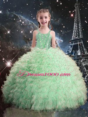 Apple Green Little Girl Pageant Gowns Quinceanera and Wedding Party with Beading and Ruffles Straps Sleeveless Lace Up