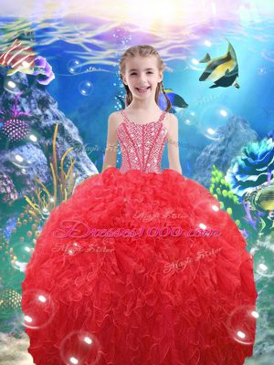 Coral Red Little Girl Pageant Dress Quinceanera and Wedding Party with Beading and Ruffles Straps Sleeveless Lace Up