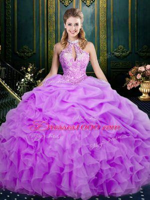 Smart Lilac Halter Top Neckline Beading and Ruffles and Pick Ups Quinceanera Gown Sleeveless Lace Up