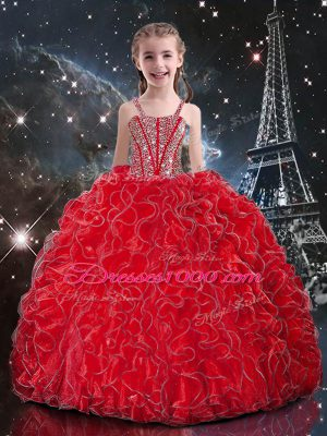 Coral Red Sleeveless Floor Length Beading and Ruffles Lace Up Pageant Gowns For Girls
