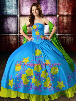 Strapless Sleeveless Lace Up Sweet 16 Dress Multi-color Satin